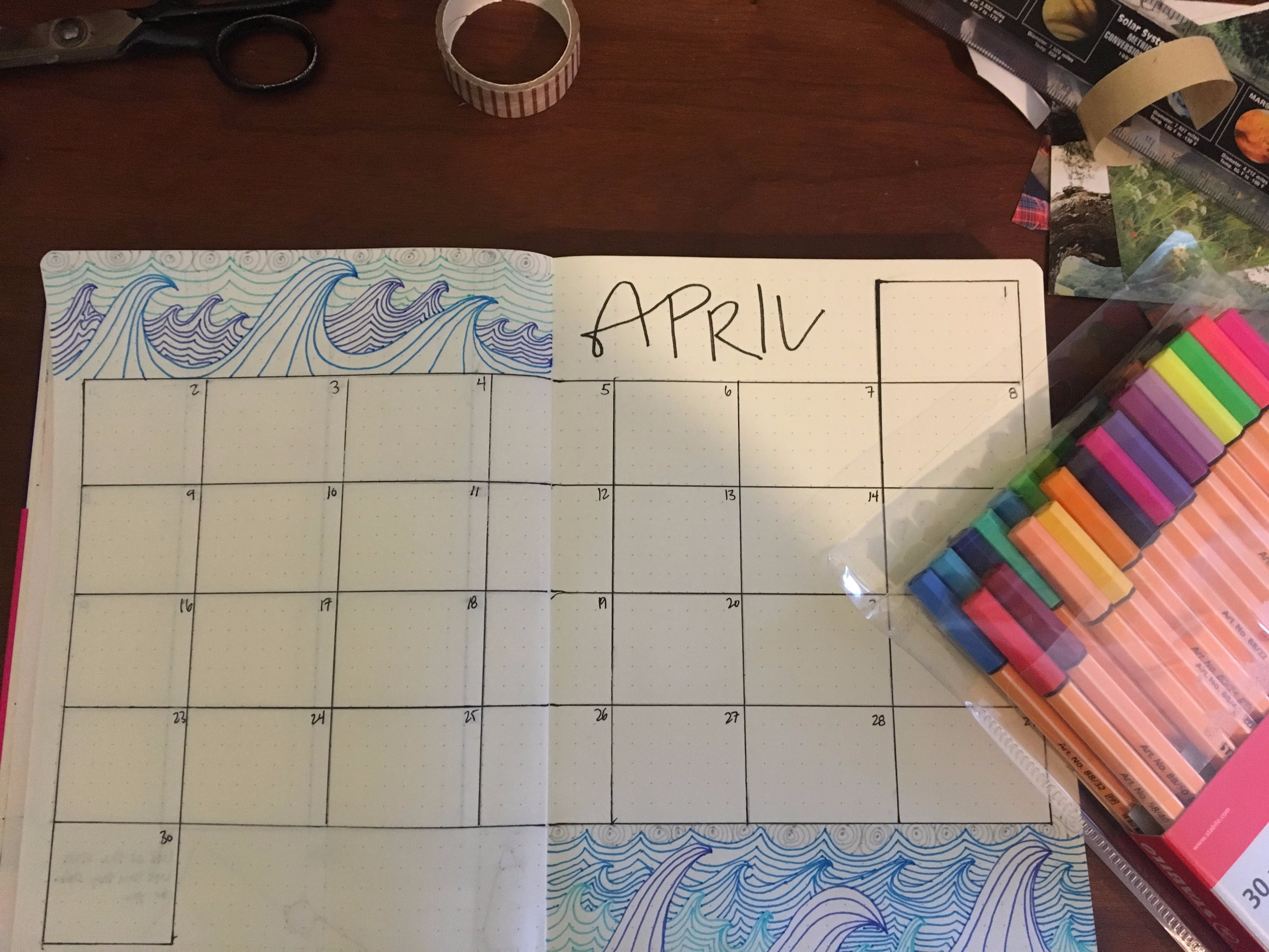 April bullet journal monthly spread